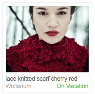 Emma Sommerfeld's cherry red scarf listing on Etsy