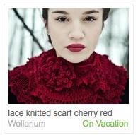 Emma Sommerfeld's cherry red scarf listing on Etsy