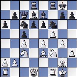 Partida de ajedrez Sanz-Pomar, Lugo 1955, posición después de 14.f5