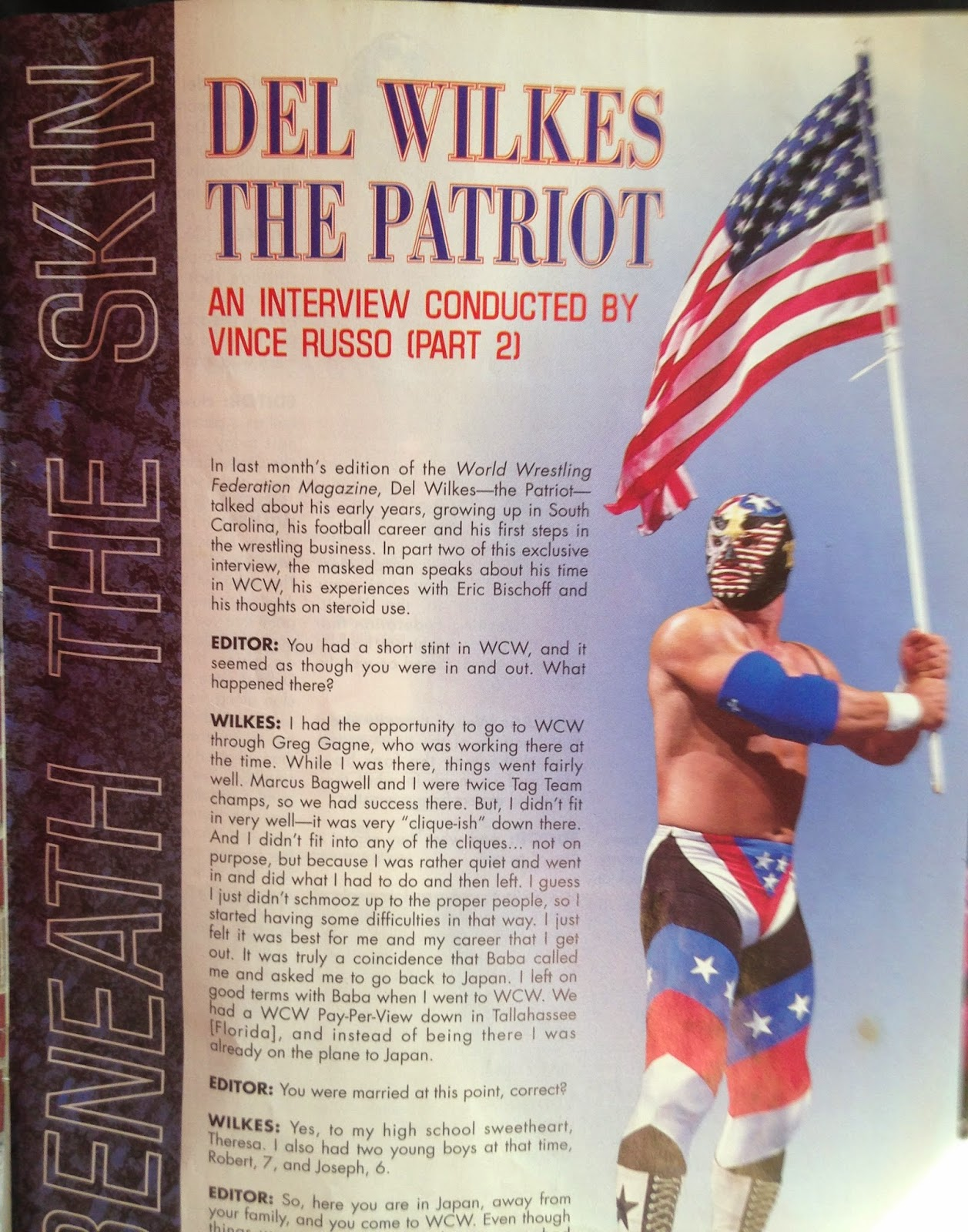 WWF MAGAZINE - JANUARY 1998 - Del Wilkes - The Patriot