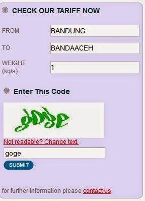 tarif JNE dari Bandung