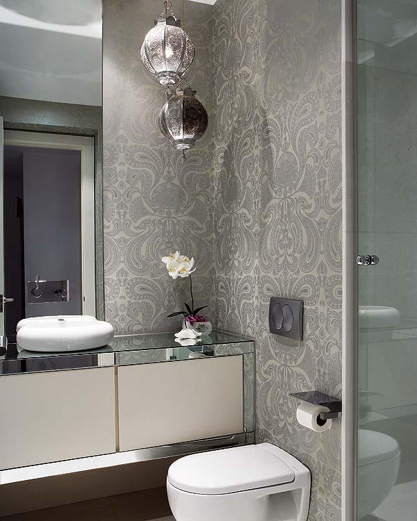 Blog Achados de Decoração  Bath as a Room ou Decorando o banheiro com criati -> Banheiro Moderno Com Papel De Parede