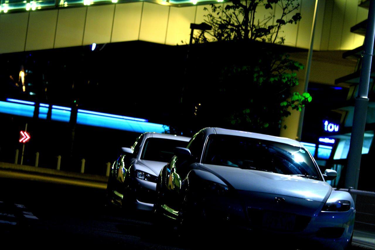 Mazda RX-8, samochody z silnikiem Wankla, rotary engine, auta nocą, zdjęcia, RWD