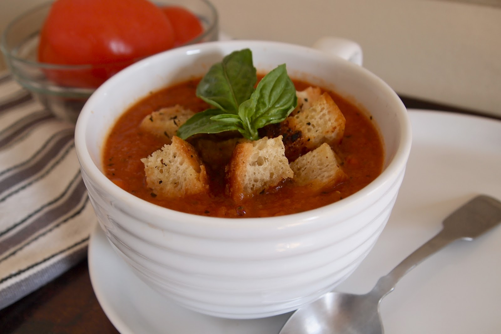 Double Tomato Soup with Garlic-Basil Croutons