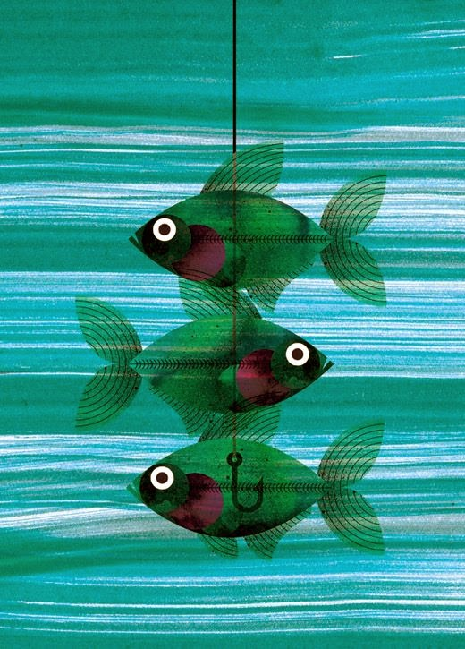 an X-ray fish illustration by Marc Martin