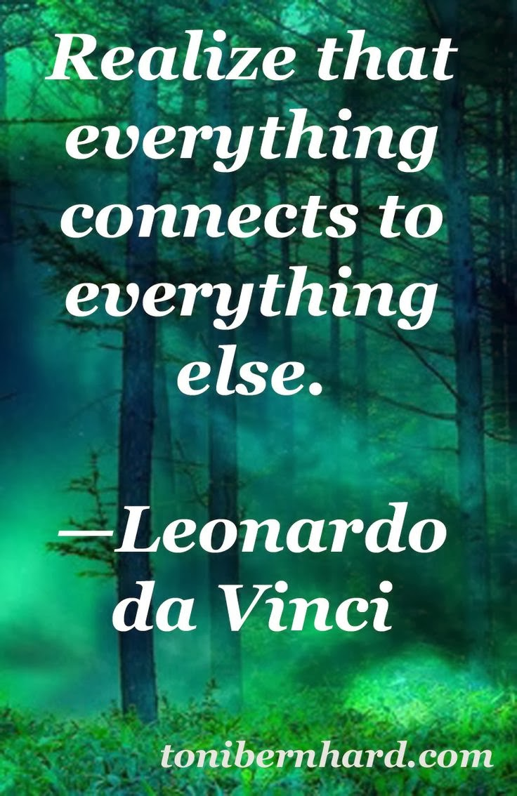 """Realize that everything connects to everything else."" - Leonardo da Vinci tonibernhard.com"