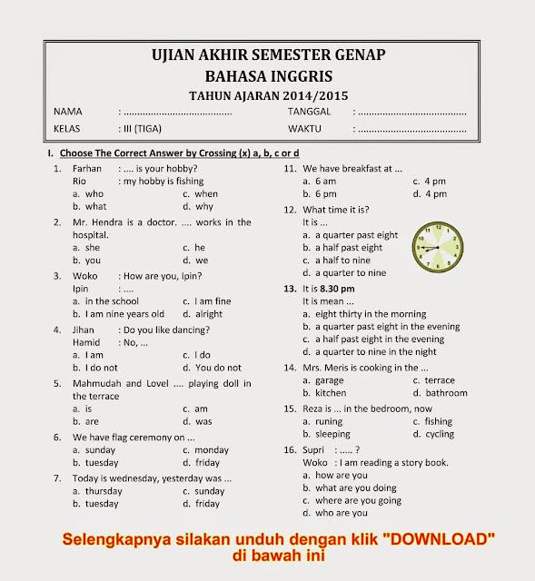 Soal Uas Ukk Bahasa Inggris Kelas 4 Semester 2 Tahun 2015 Baru Newhairstylesformen2014 Com