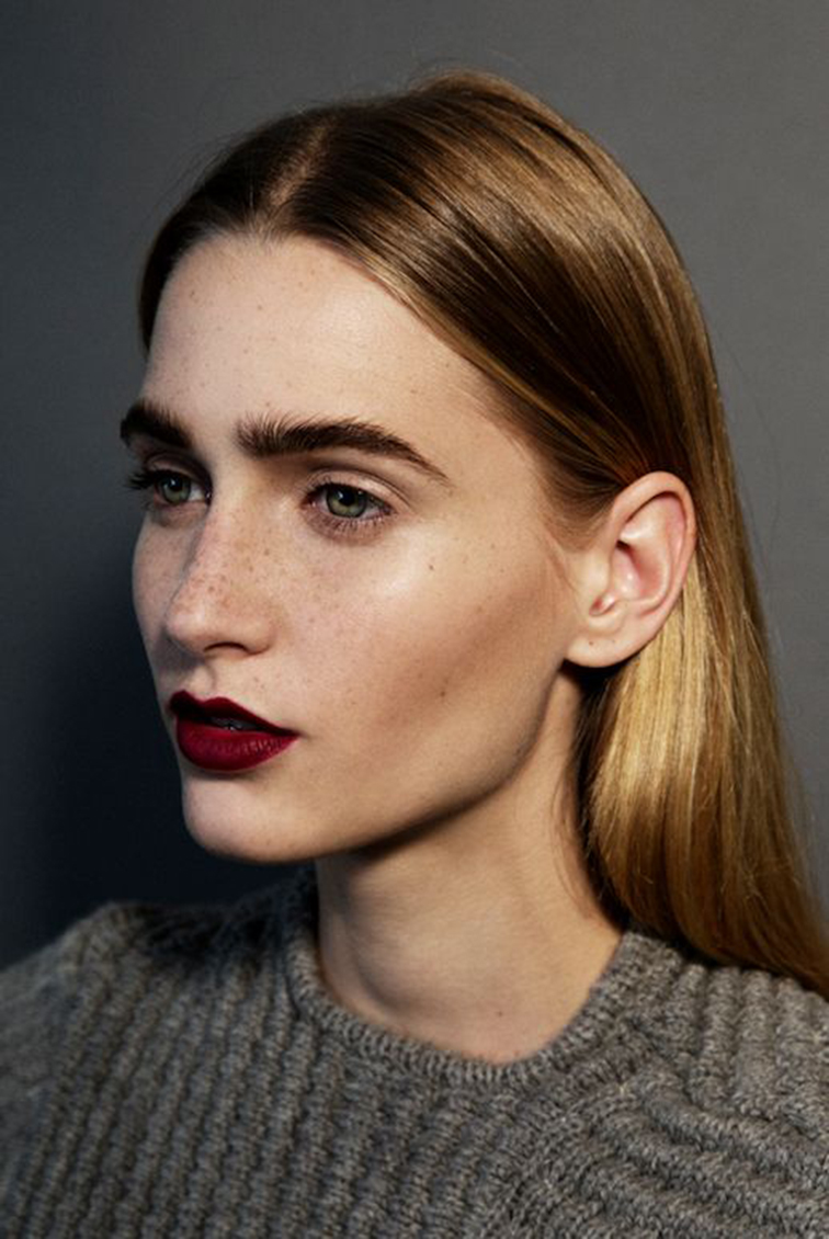 Beauty, beautiful girl, freckles, eyebrows, dark lipstick