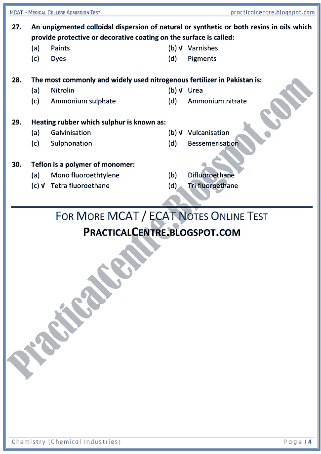 mcat-chemistry-chemical-industries-mcqs-for-medical-college-admission-test