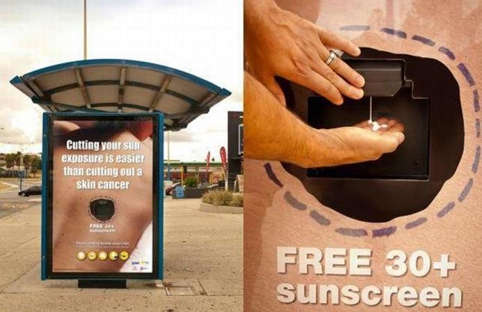 reklama outdoorowa, kreatywna reklama kremu z filtrem