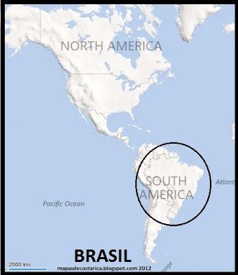 Ubicación de Brasil en América, BING 2012