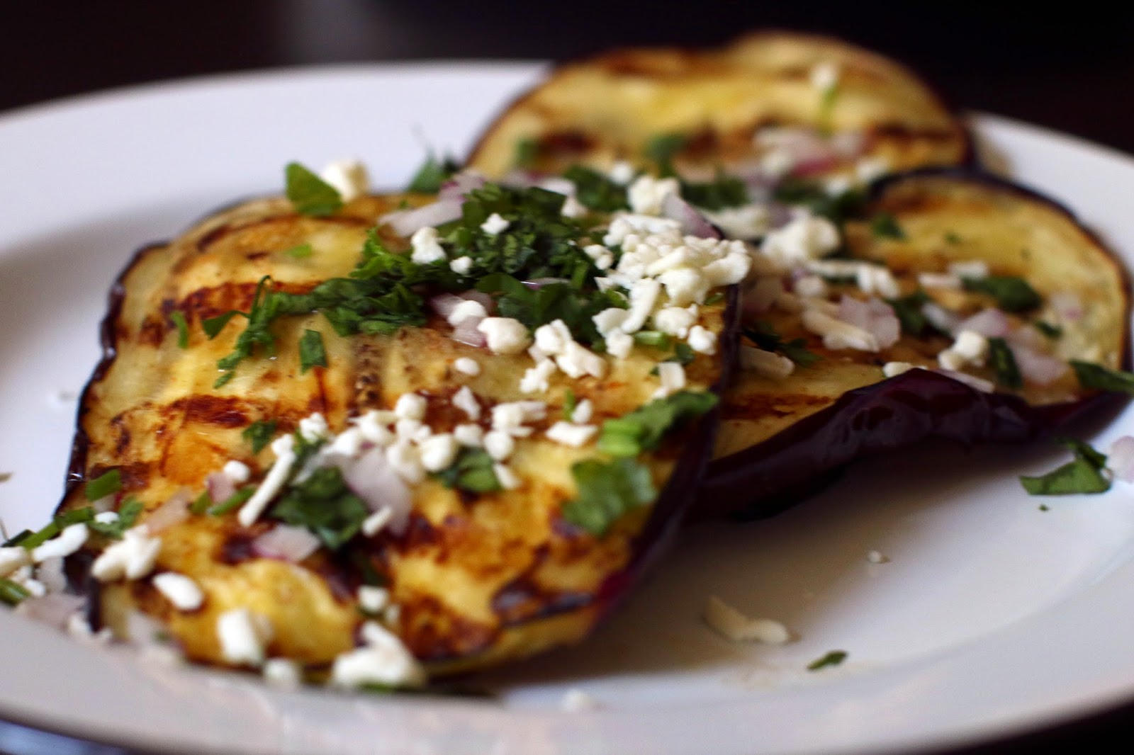 with vinaigrette feta herbs grilled eggplant with eggplant cooks ...