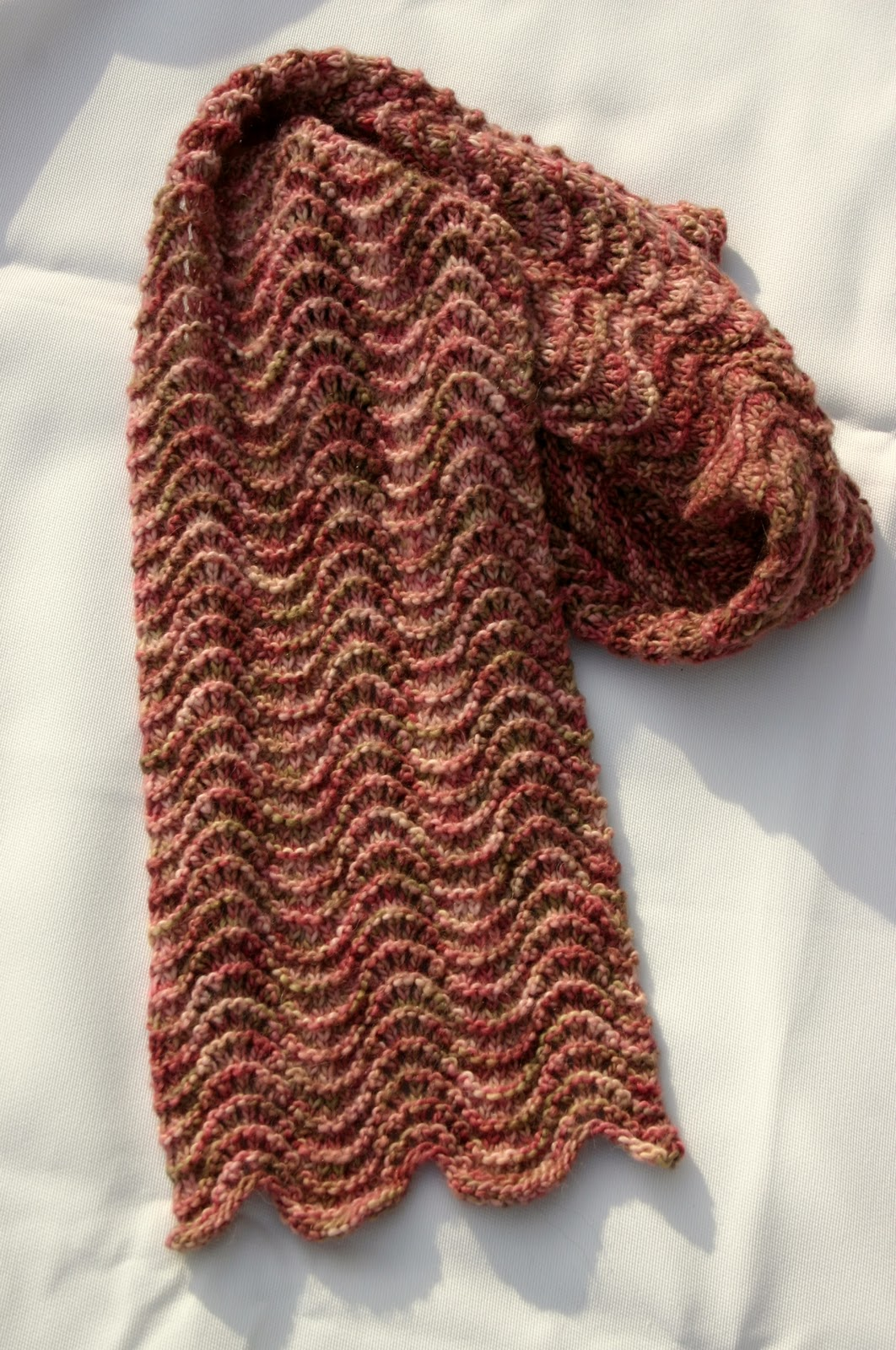 The Fuzzy Square: Scarf Waves, Old Shale Pink Handknit Scarf