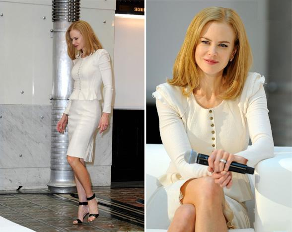 Nicole Kidman  wore a Nina Ricci suit and Nicholas Kirkwood shoes to  the junket