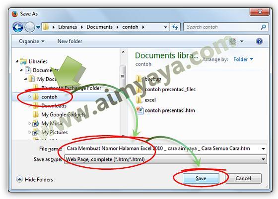 Gambar: Memilih folder dan memberikan nama file untuk halaman website yang akan disimpan