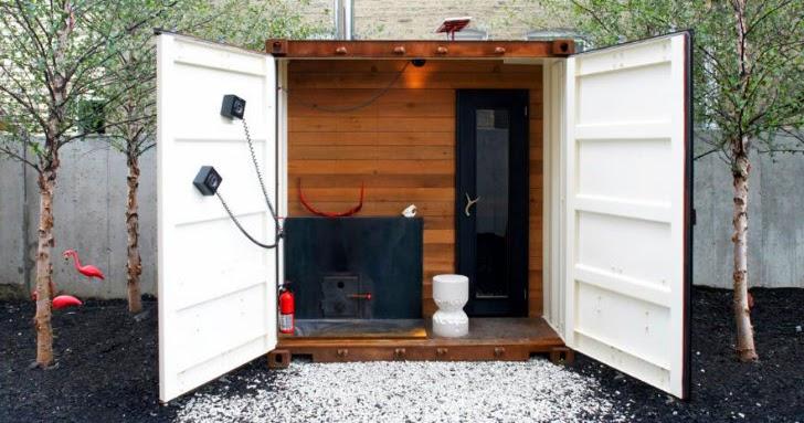 Casas contenedores contenedor marino convertido en una - Construir una sauna ...