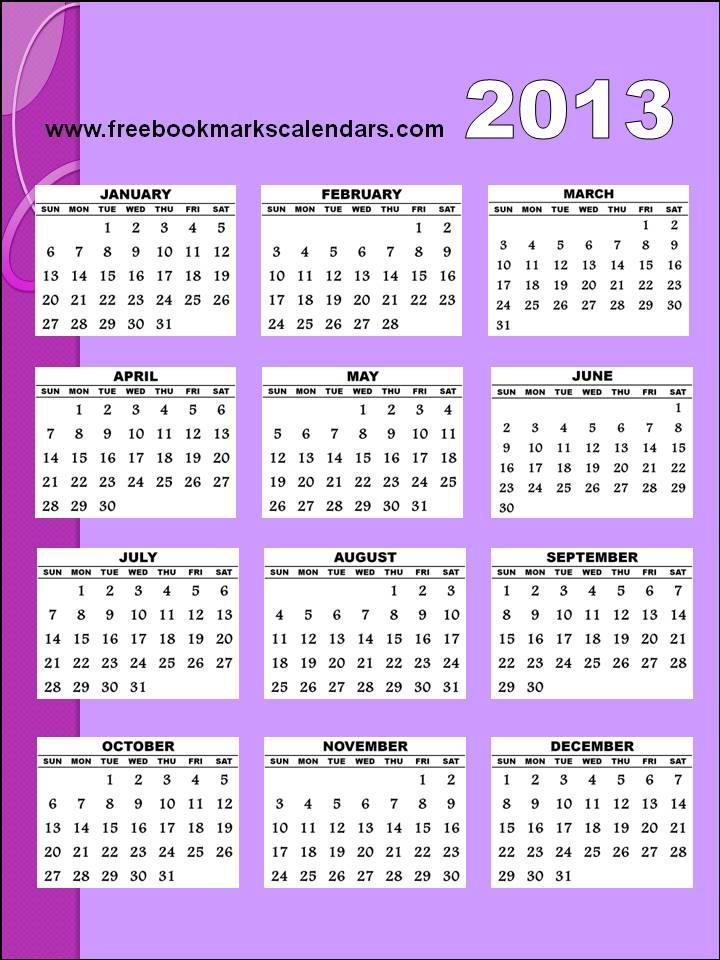 2013 Yearly Calendar Large Printable | Calendar Template 2016