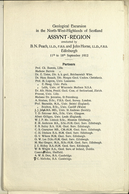 The British Association for the Advancement of Science Meeting, Dundee 1912. Assynt Excursion 11th 18th September 1912. List of participants on the field excursion