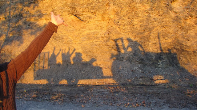 awesome shadow on rock hayride sunset tractor