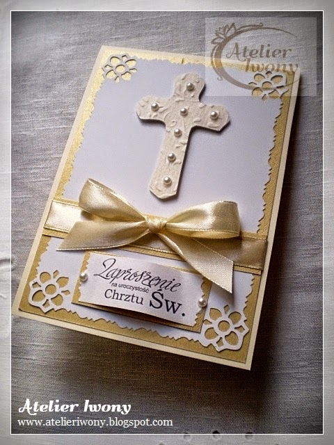 krzyż, cross, croix, perła, pearl, wstążka, bow, ruban, paper cutting, wycinanka, złoto, gold, golden, or, ornament, kokarda