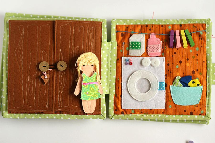 Quiet busy dollhouse book with felt doll for pretend play, TomToy handmade, развивающая книжка, кукольный домик