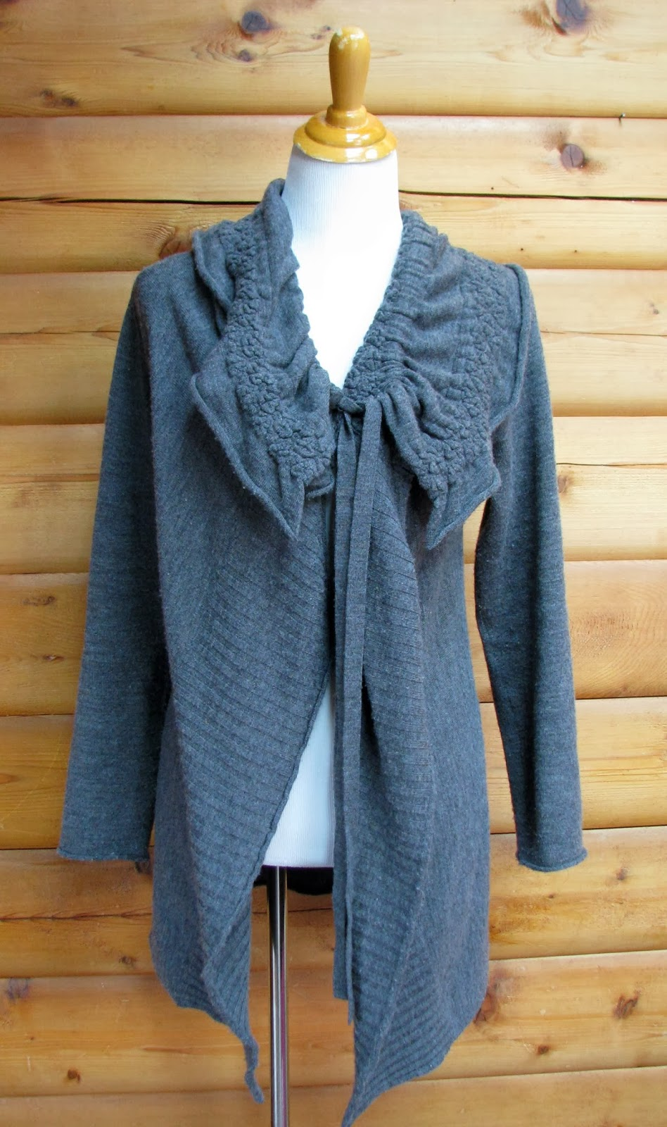 http://www.ebay.com/itm/MOTH-Anthropologie-Grey-Long-Sweater-Coat-Wool-Ruffle-Women-Medium-/131101608272?
