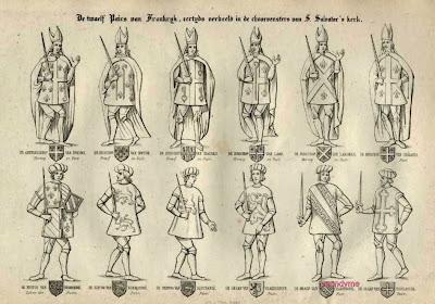 Schets van de twaalf Franse pairs, die omstreeks 1380 in het koorgedeelte werden geplaatst.