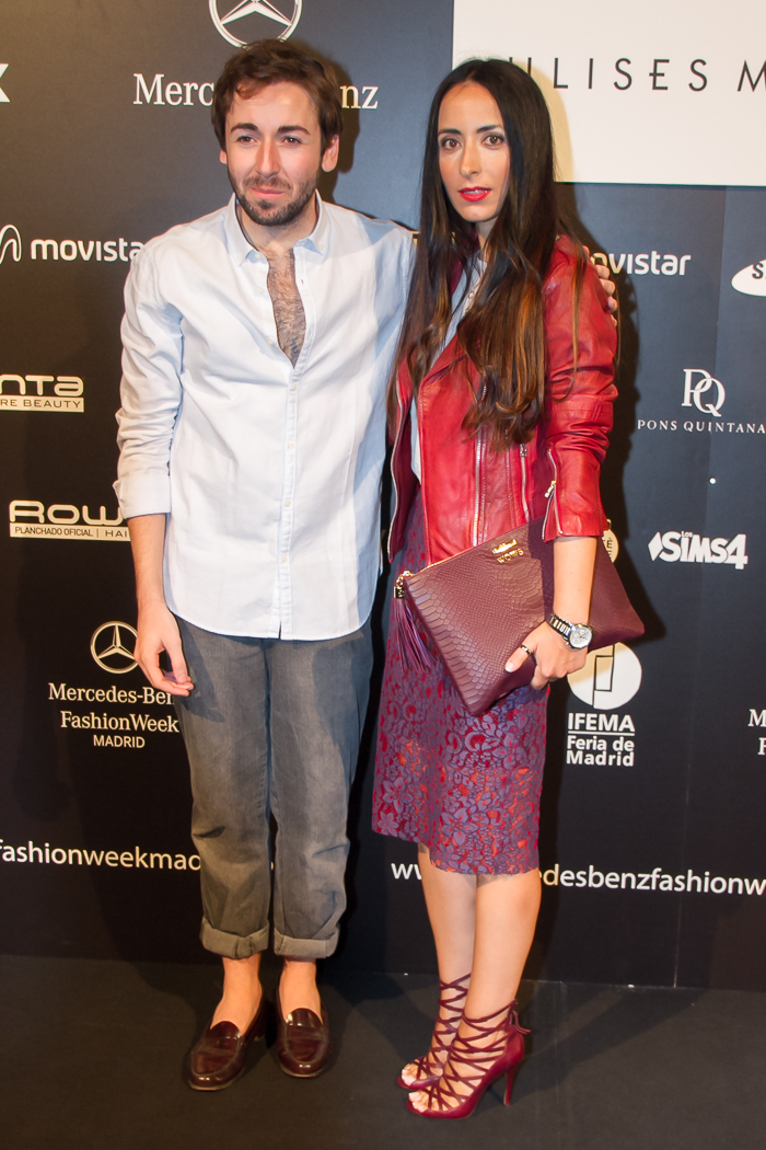 Daniel Rabaneda y Blogger Veronica withorwithoutshoes en photocall Fashion Week Madrid