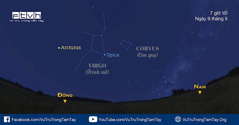 Quan sát chòm sao Con quạ vào tối 9/5.