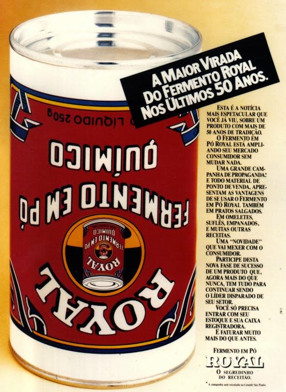 Propaganda do Fermento Royal em comemoração aos 50 anos de existência do produto.