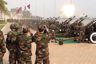 Cannon salute at funeral of King Norodom Sihanouk, Phnom Penh, Cambodia