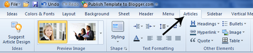 Blogger template using Artisteer