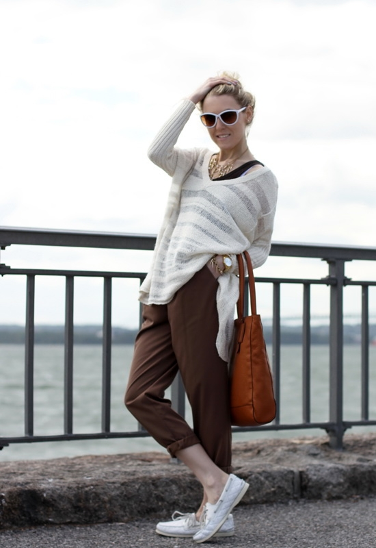 Free People Spending Time Pullover Asos Pants Sperry Top-Sider Quilted Shoes Jessica Simpson White Sunglasses