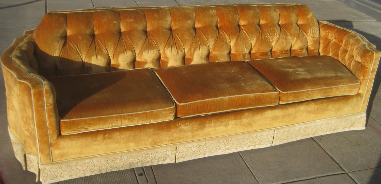 SOLD Gold Crushed Velvet Sofa   $200