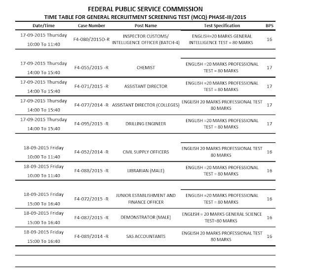 Fpsc-exam-schedule