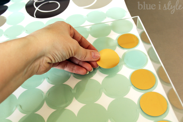 Add adhesive decals to diy acrylic tray