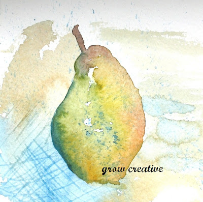 yellow watercolor pear
