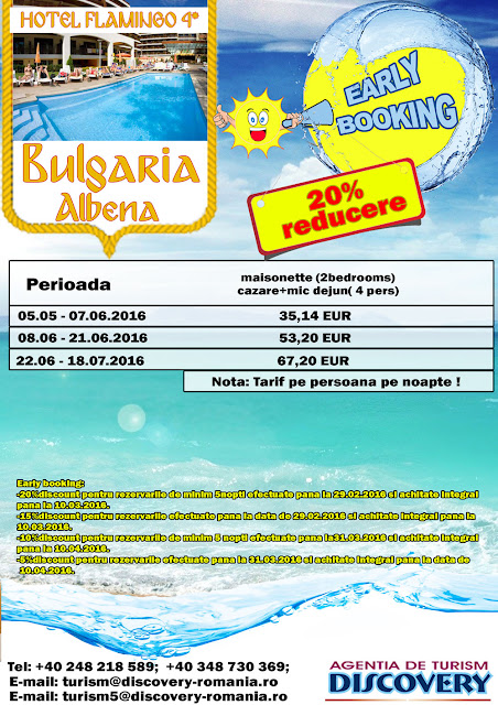 Early Booking Bulgaria Hotel Flamingo 4* statiunea Albena - Discovery Pitesti