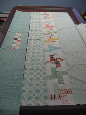 piecing Fandango quilt backing
