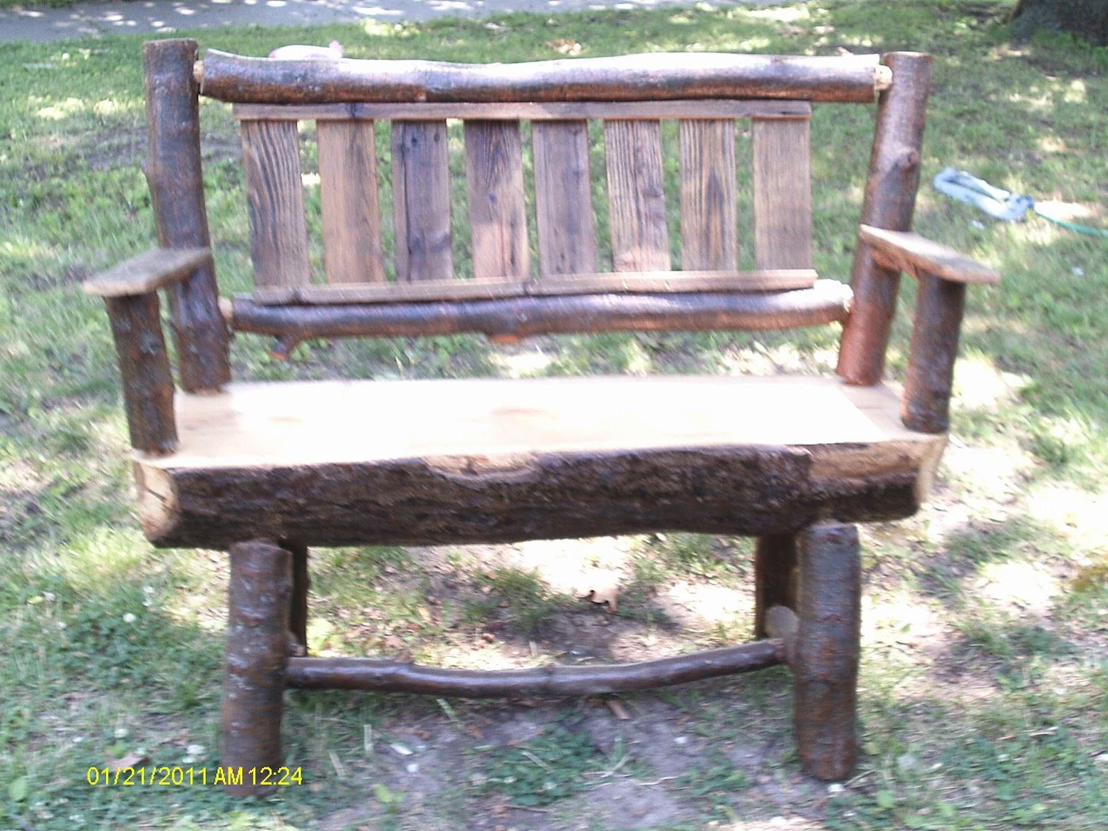 Handmade rustic log furniture oak log bench and coffee What are chairs made of