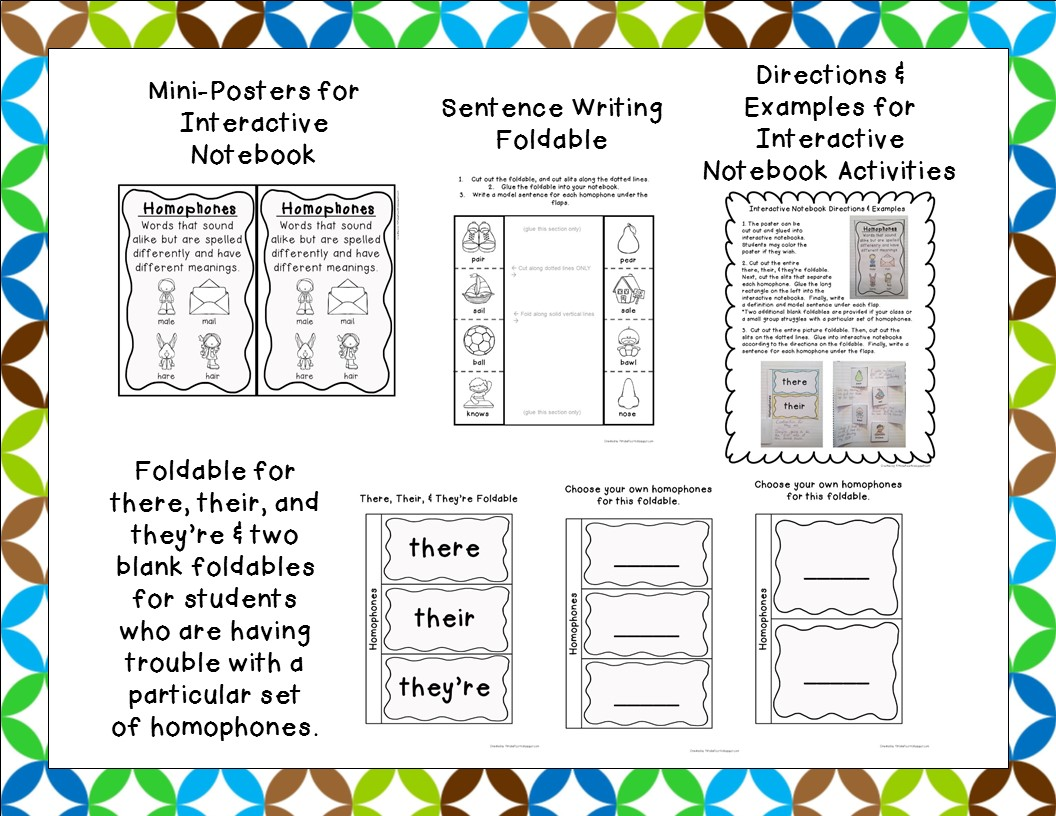 http://www.teacherspayteachers.com/Product/Homophone-Center-Poster-Worksheets-Interactive-Notebook-Materials-Task-Cards-1616853