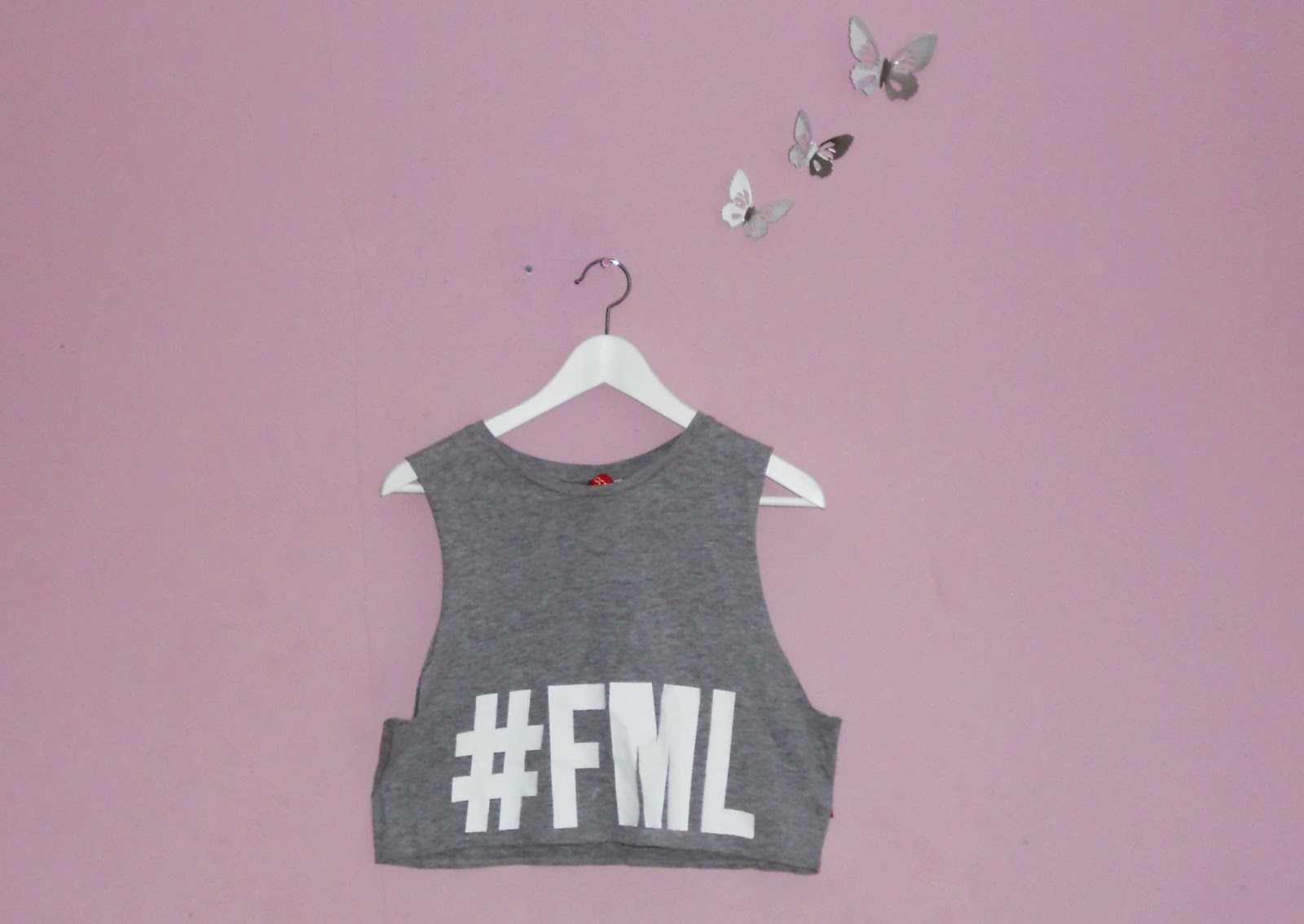 H&M FML slogan grey muscle top