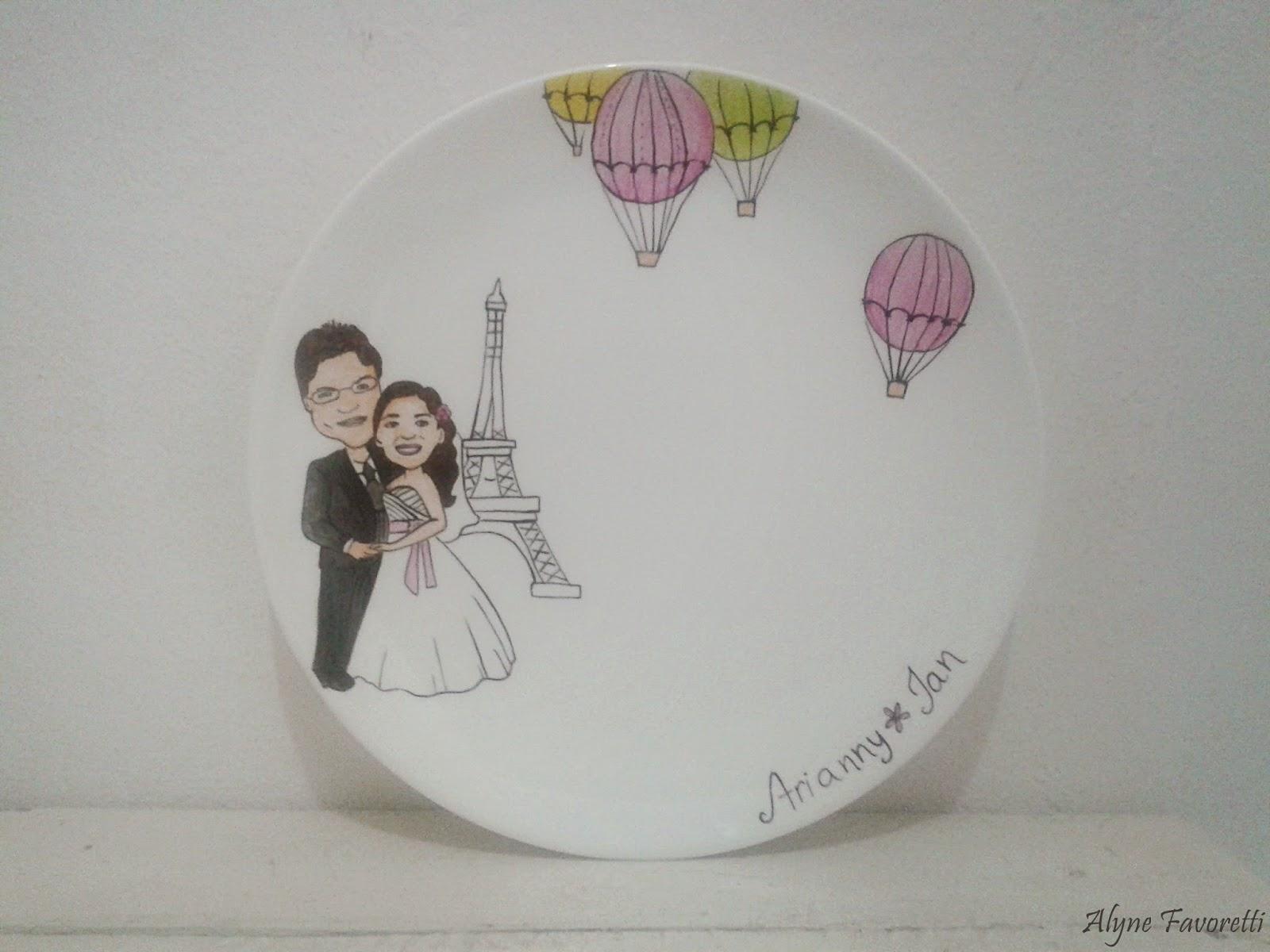 Alyne Favoretti: Aparelho de jantar Amor em Paris com caricatura #7B7546 1600x1200