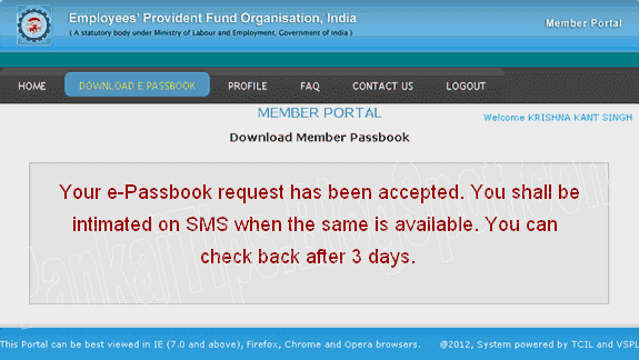 employee provident fund e-passbook generate request accepted