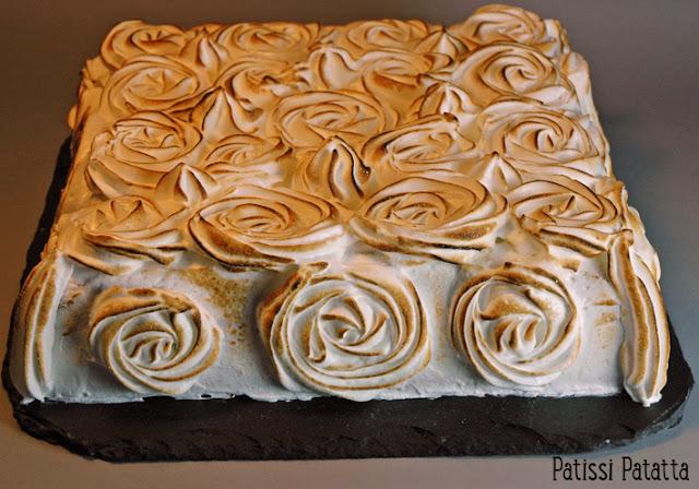 recette de génoise citron meringué, cake design, recette de meringue italienne, meringue italienne, lemon curd, recette de lemon curd, comment faire une génoise