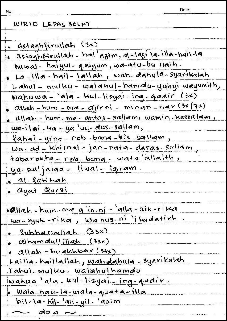 The Kasihs Wirid Lepas Solat