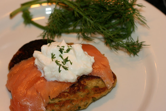 Smoked Salmon w/ Sour Cream over Swiss Chard Pancake