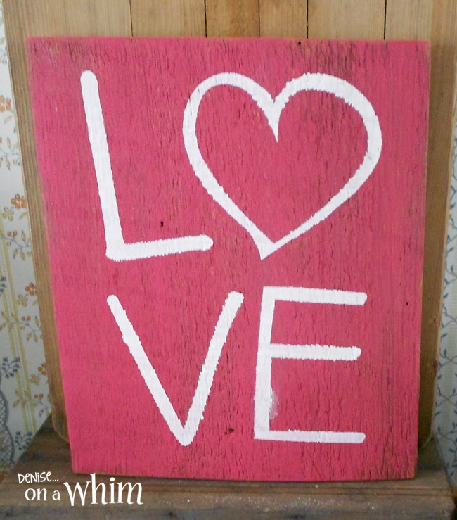 Reclaimed Wood Love Sign in Red and White from Denise on a Whim