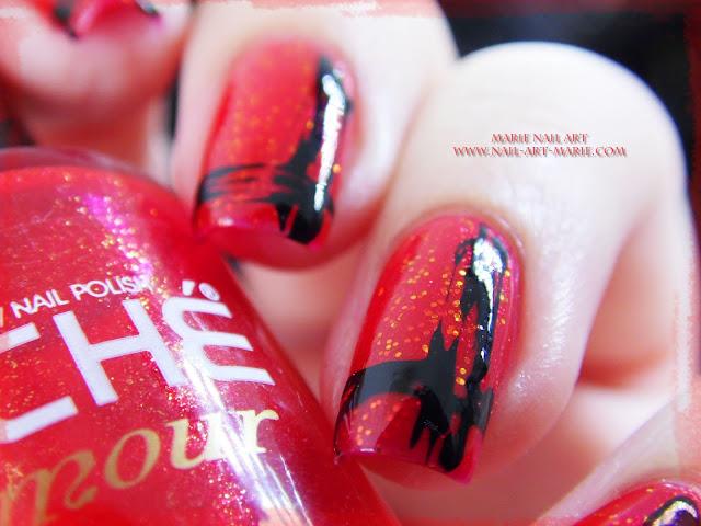 Nail Art Abstrait Rouge et Noir Facile7
