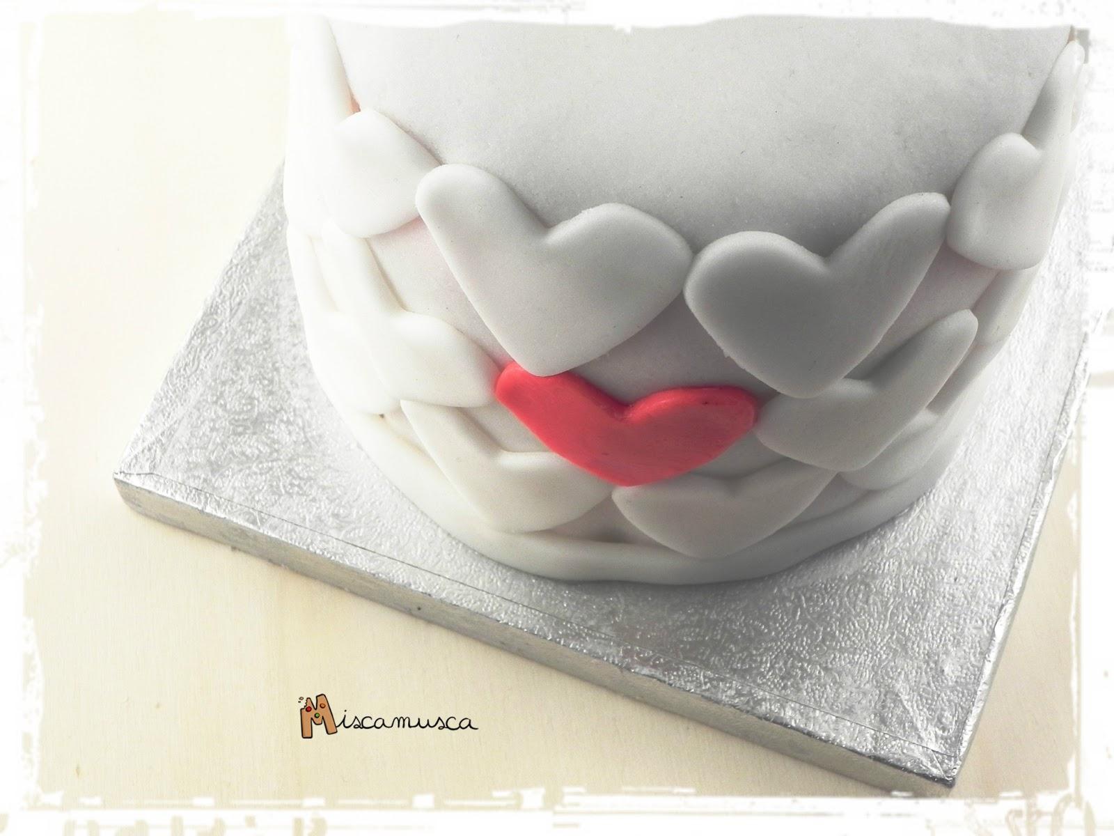 Pastel de San Valentín de fondant